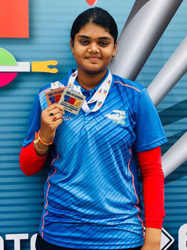 Ms. V Jyothi Surekha won Silver and Bronze Medals