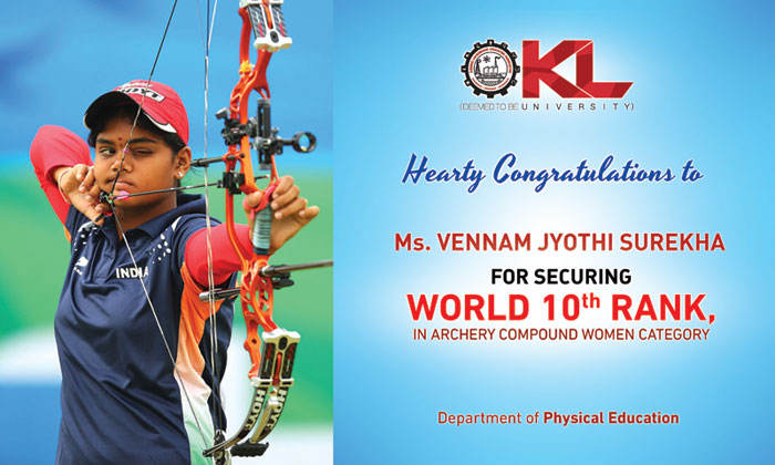 KL Deemed to be University congratulates Ms. Vennam Jyothi Surekha for securing world's 10th Rank in archery compound women category.