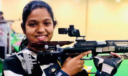 Ms. Sridharla Lasya (Regd No: 2000030958-B.Tech-CSE) Secured Gold Medal in Women Team and Silver Medal in Mixed Team in the 3rd HAWK-EYE Shooting Championship held at Bangalore, Karnataka from 7-01-2021 to 10-01-2021.